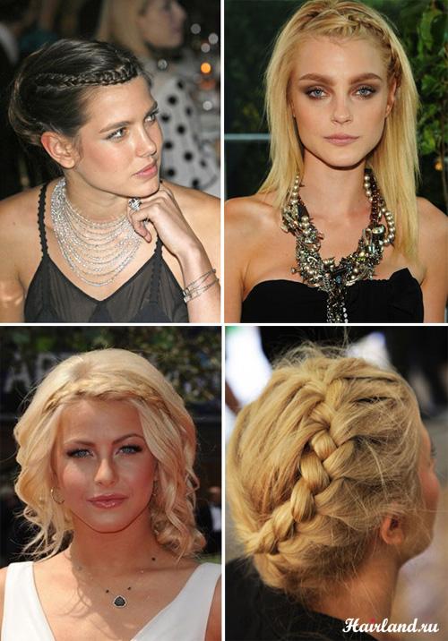 Прически и укладки для волос средней длины с косами