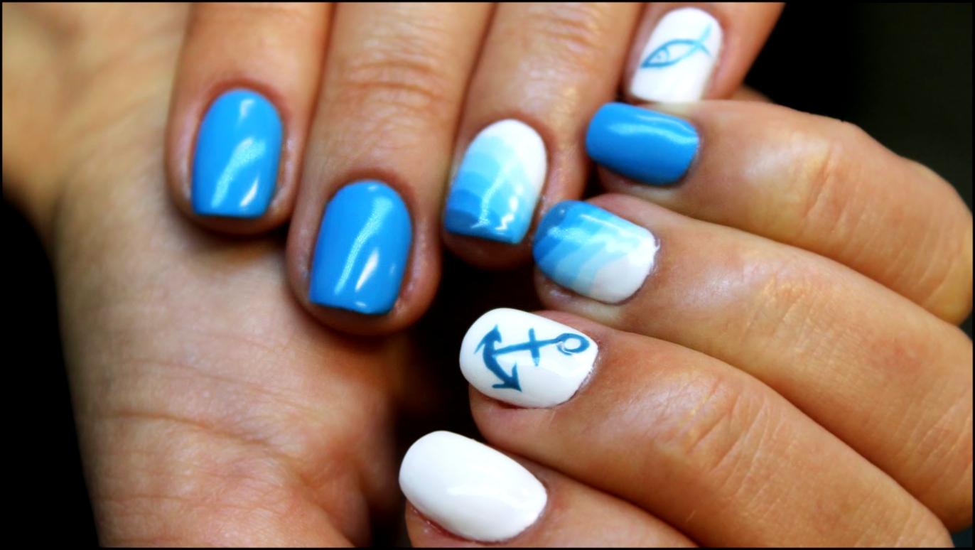 Маникюр в морском стиле фото синий